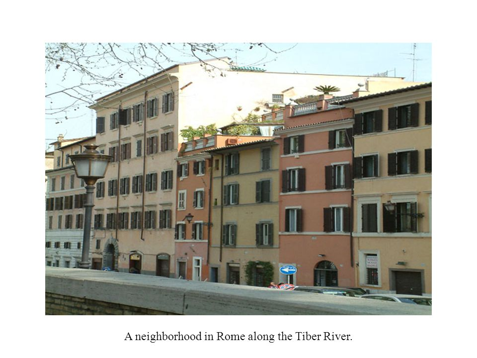 A neighborhood in Rome along the Tiber River.