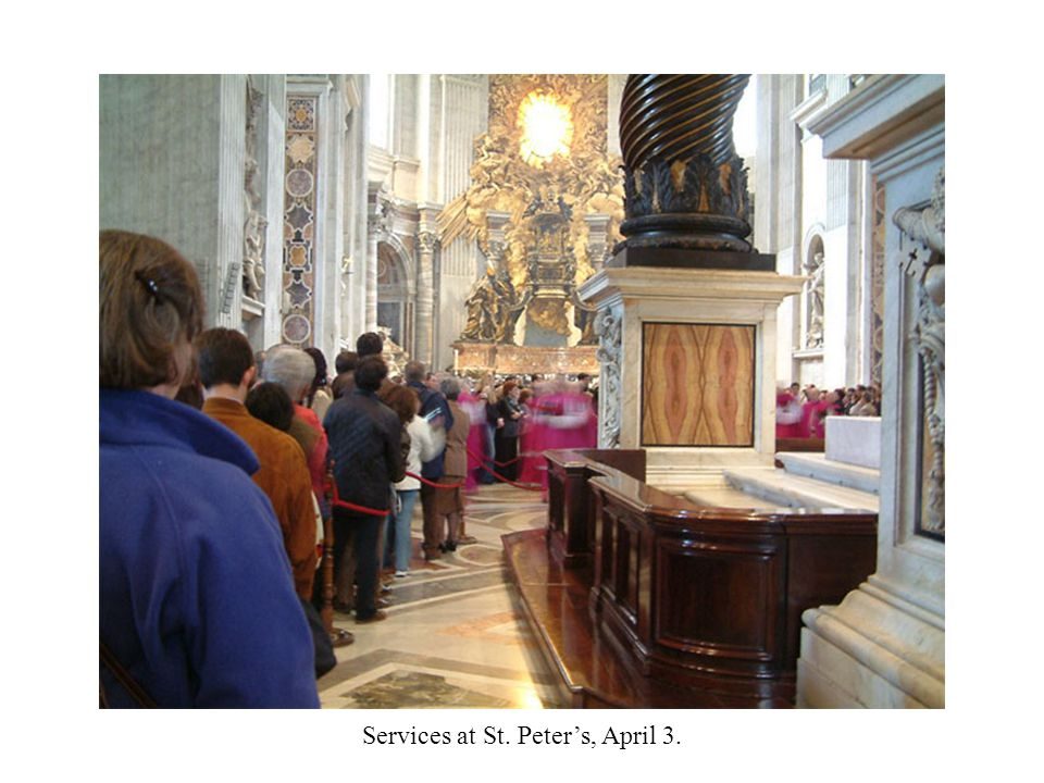 Services at St. Peter's, April 3.