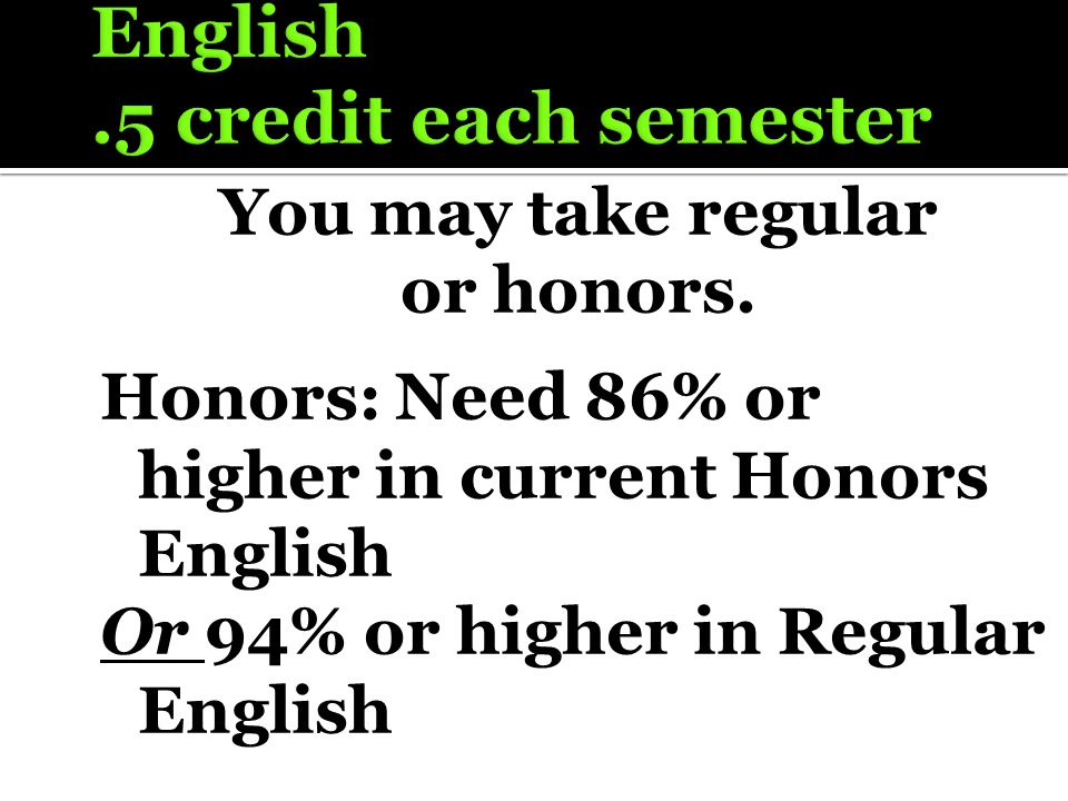 You may take regular or honors. Honors: Need 86% or higher in current Honors English Or 94% or higher in Regular English