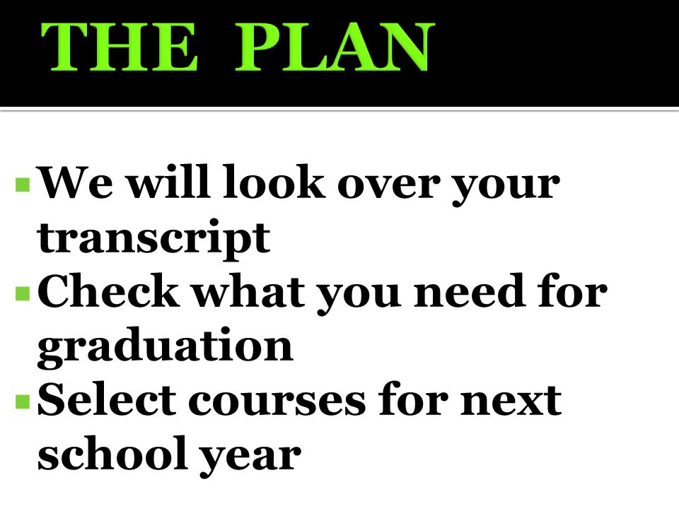  We will look over your transcript  Check what you need for graduation  Select courses for next school year