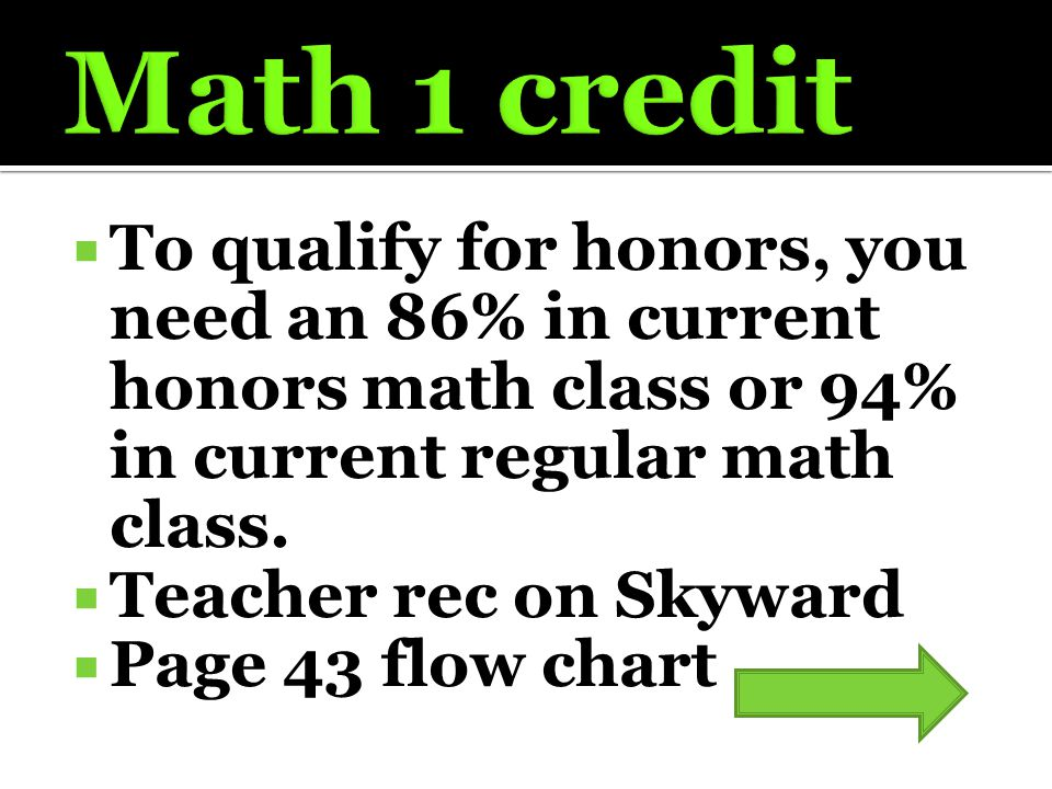  To qualify for honors, you need an 86% in current honors math class or 94% in current regular math class.