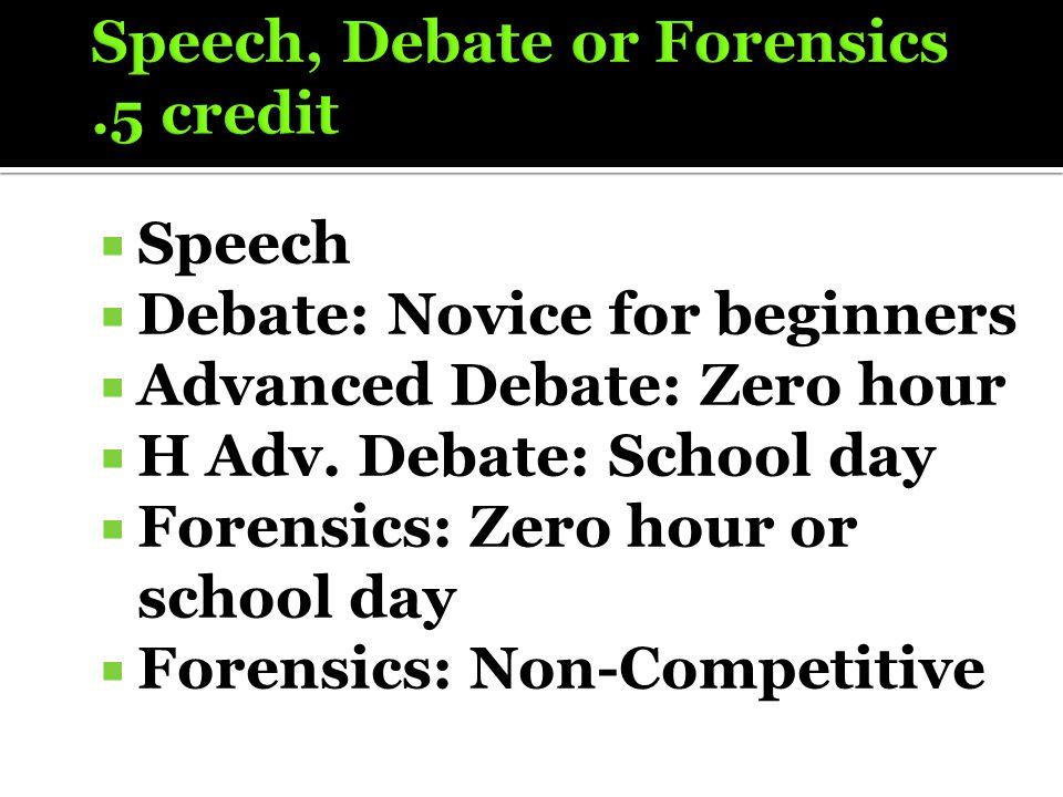  Speech  Debate: Novice for beginners  Advanced Debate: Zero hour  H Adv. Debate: School day  Forensics: Zero hour or school day  Forensics: Non