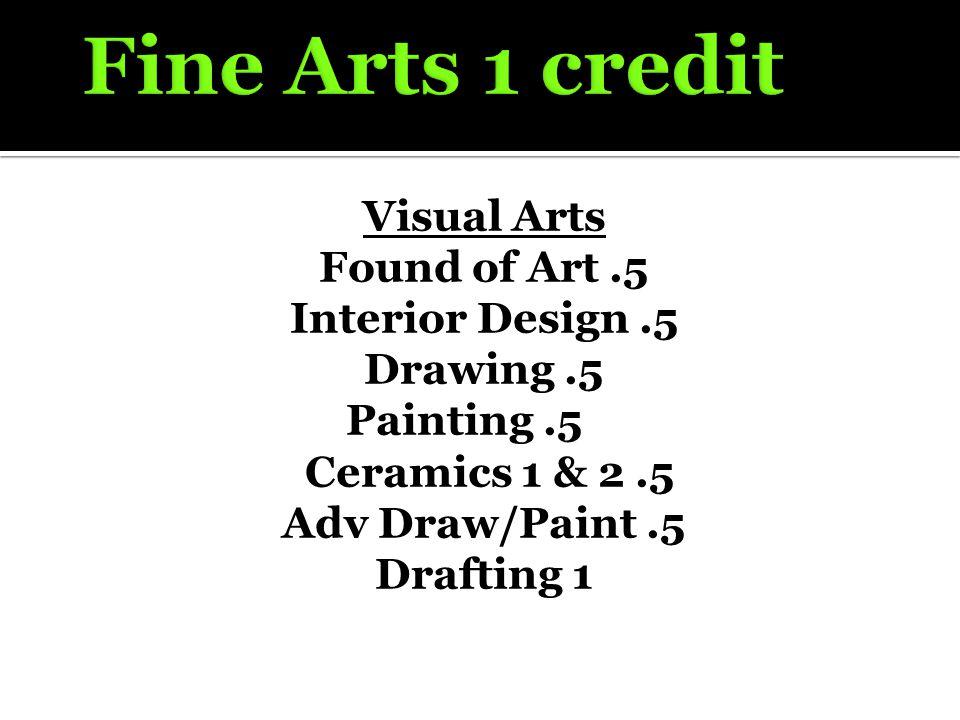 Visual Arts Found of Art.5 Interior Design.5 Drawing.5 Painting.5 Ceramics 1 & 2.5 Adv Draw/Paint.5 Drafting 1