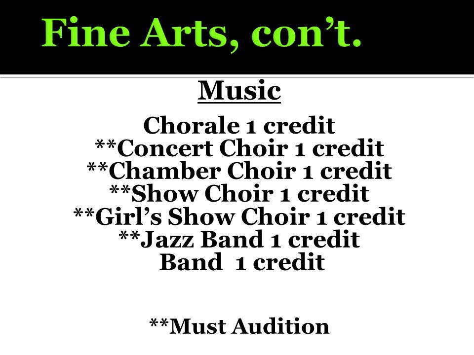 Music Chorale 1 credit **Concert Choir 1 credit **Chamber Choir 1 credit **Show Choir 1 credit **Girl's Show Choir 1 credit **Jazz Band 1 credit Band