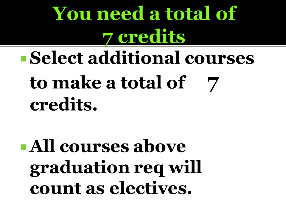  Select additional courses to make a total of 7 credits.  All courses above graduation req will count as electives.