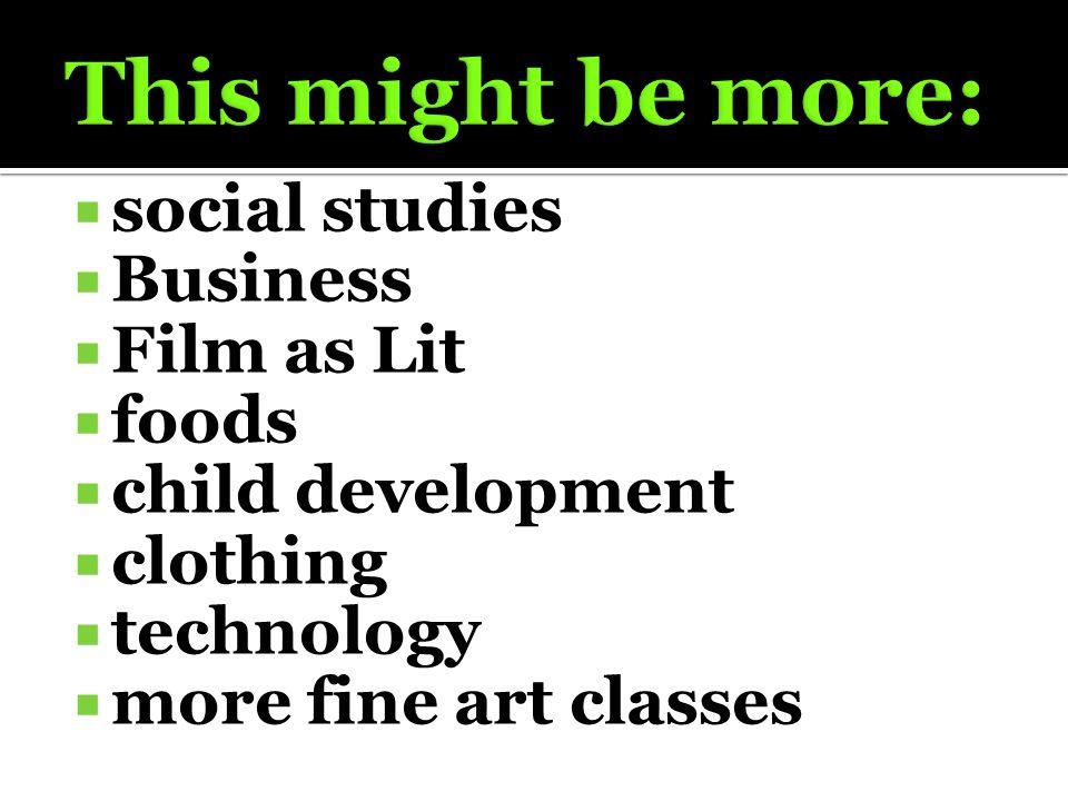  social studies  Business  Film as Lit  foods  child development  clothing  technology  more fine art classes