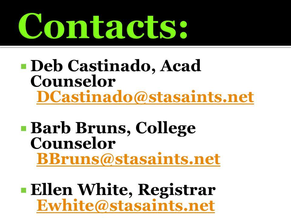 Deb Castinado, Acad Counselor DCastinado@stasaints.net  Barb Bruns, College Counselor BBruns@stasaints.net  Ellen White, Registrar Ewhite@stasaint