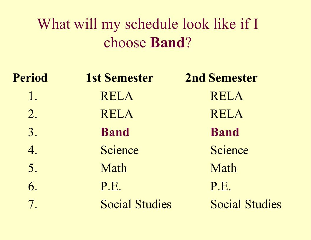 What will my schedule look like if I choose Band? Period 1st Semester 2nd Semester 1. RELA RELA 2. RELA RELA 3. BandBand 4. Science Science 5. Math Ma