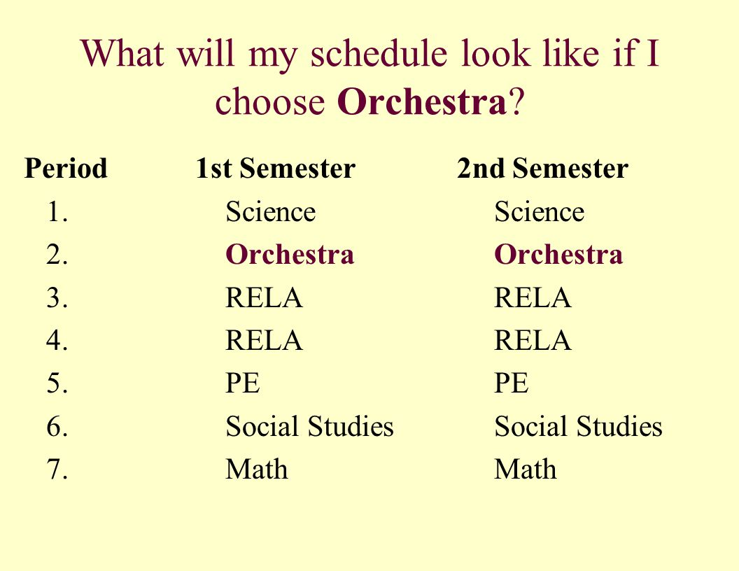 What will my schedule look like if I choose Orchestra.