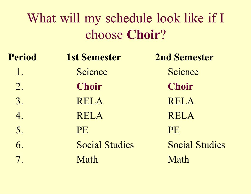 What will my schedule look like if I choose Choir? Period 1st Semester 2nd Semester 1.ScienceScience 2.ChoirChoir 3. RELARELA 4. RELARELA 5.PE PE 6.So