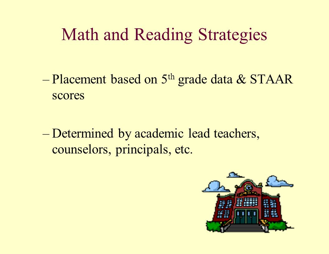 Math and Reading Strategies –Placement based on 5 th grade data & STAAR scores –Determined by academic lead teachers, counselors, principals, etc.