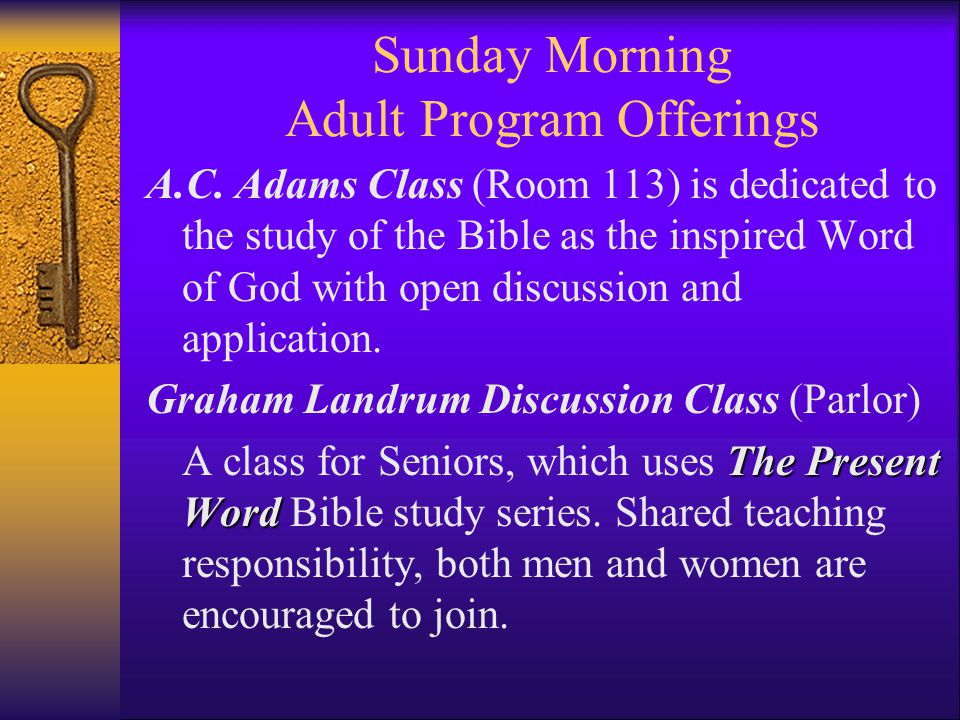 Sunday Morning Adult Program Offerings A.C.