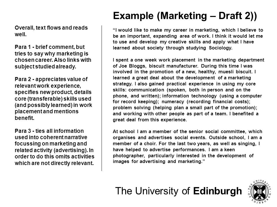 The University of Edinburgh Personal Statement: Research Do your research – what does the course involve.