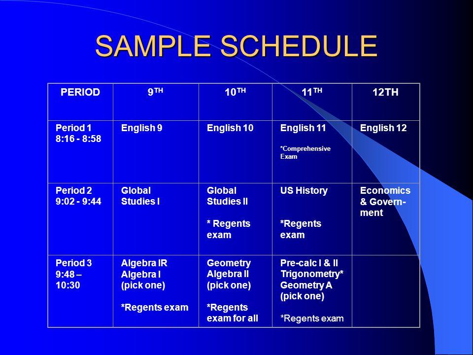 SAMPLE SCHEDULE PERIOD9 TH 10 TH 11 TH 12TH Period 1 8:16 - 8:58 English 9English 10English 11 *Comprehensive Exam English 12 Period 2 9:02 - 9:44 Global Studies I Global Studies II * Regents exam US History *Regents exam Economics & Govern- ment Period 3 9:48 – 10:30 Algebra IR Algebra I (pick one) *Regents exam Geometry Algebra II (pick one) *Regents exam for all Pre-calc I & II Trigonometry* Geometry A (pick one) *Regents exam