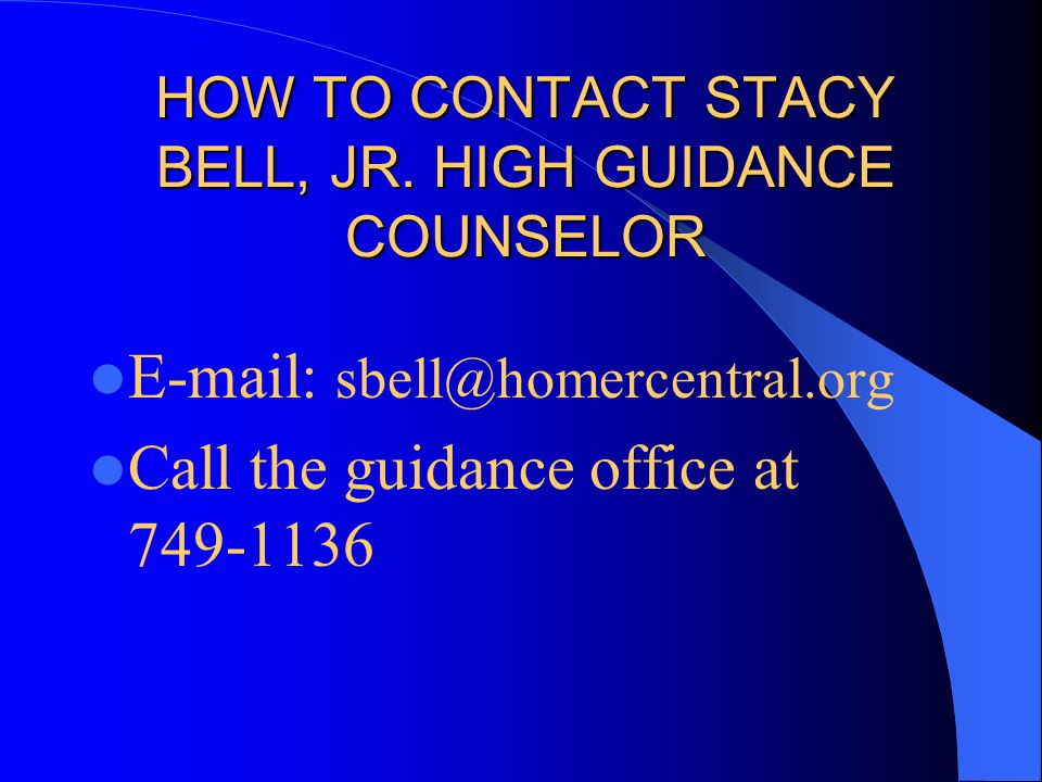 HOW TO CONTACT STACY BELL, JR.