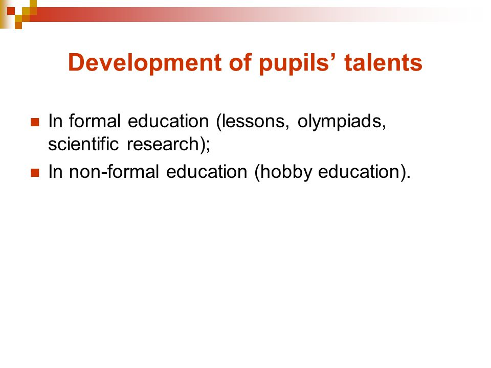 How hobby education works in Latvia Hobby education programmes are implemented at: 802 schools of general education, 54 schools of vocational education, 48 institutions of hobby education (children and youth centres, centres for technical creative work, centres for environmental education) institutions of pre-school education and institutions of professional trend (music, arts and sport schools) Almost 80% of pupils are involved in hobby education irrespective of age, ethnicity, gender, social status, special needs and residence State provides partial funding for the wages of teachers of hobby education Municipalities provide funding for the development of economically technical basis and partial funding for teachers' wages in case of need