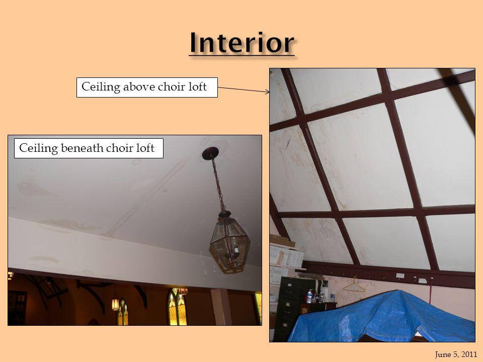 June 5, 2011 Wall in chir loft Ceiling above choir loft Ceiling beneath choir loft