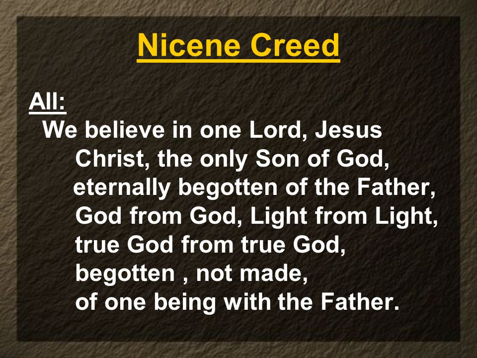 Nicene Creed All: We believe in one Lord, Jesus Christ, the only Son of God, eternally begotten of the Father, God from God, Light from Light, true God from true God, begotten, not made, of one being with the Father.