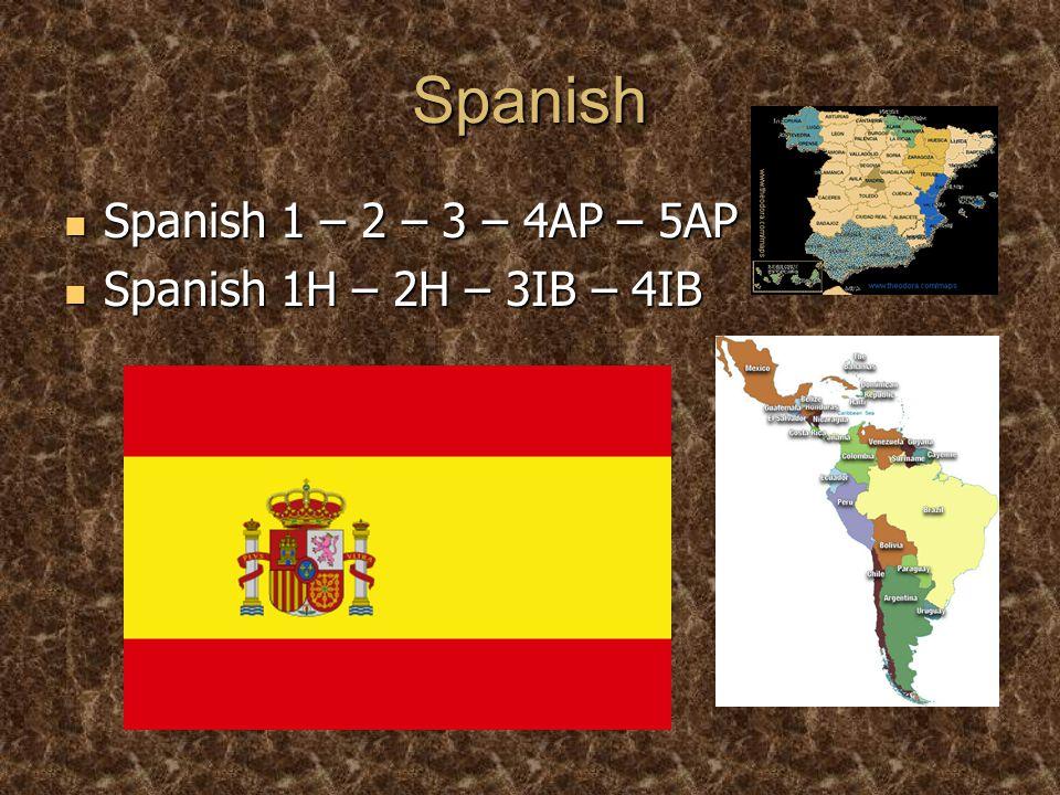 Spanish Spanish 1 – 2 – 3 – 4AP – 5AP Spanish 1 – 2 – 3 – 4AP – 5AP Spanish 1H – 2H – 3IB – 4IB Spanish 1H – 2H – 3IB – 4IB