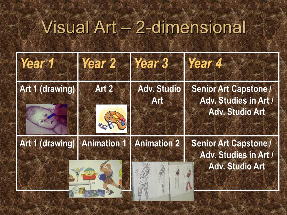 Visual Art – 3-dimensional Year 1Year 2Year 3Year 4 Sculpture 1 or Art 1 Ceramics 1Ceramics 2Ceramics 3 / Senior Art Capstone / Adv.