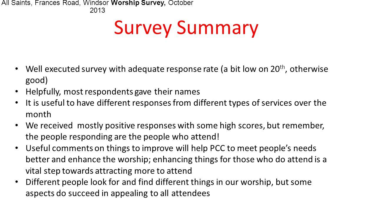 All Saints, Frances Road, Windsor Worship Survey, October 2013 1.