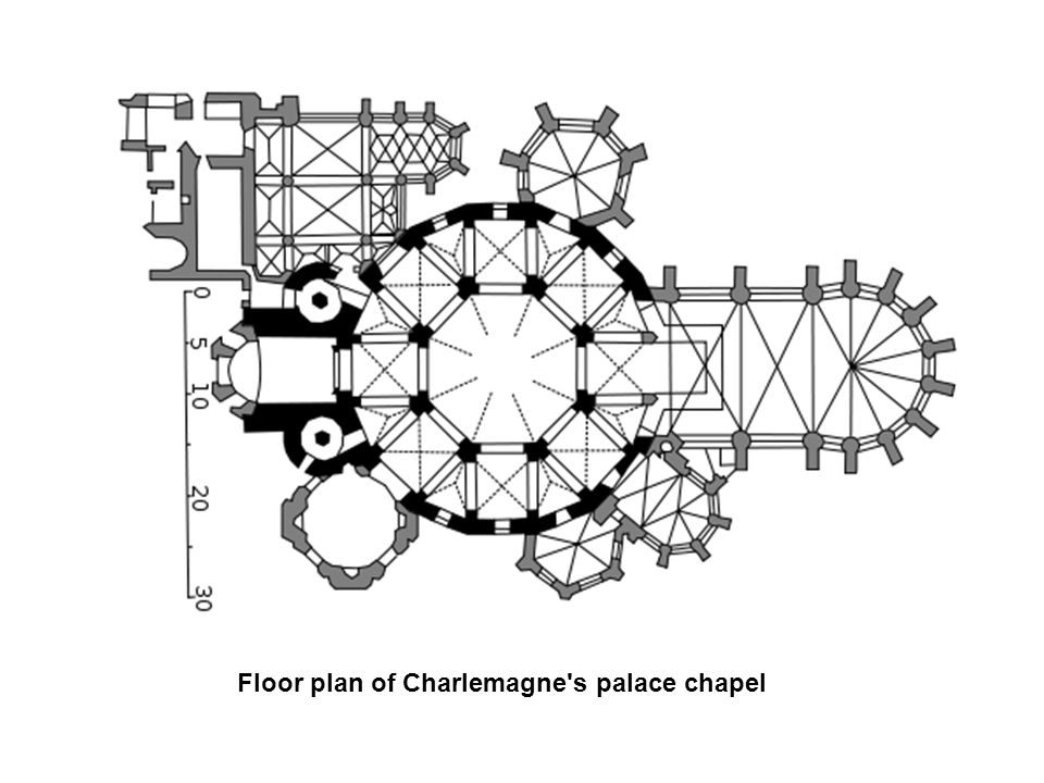 Floor plan of Charlemagne s palace chapel