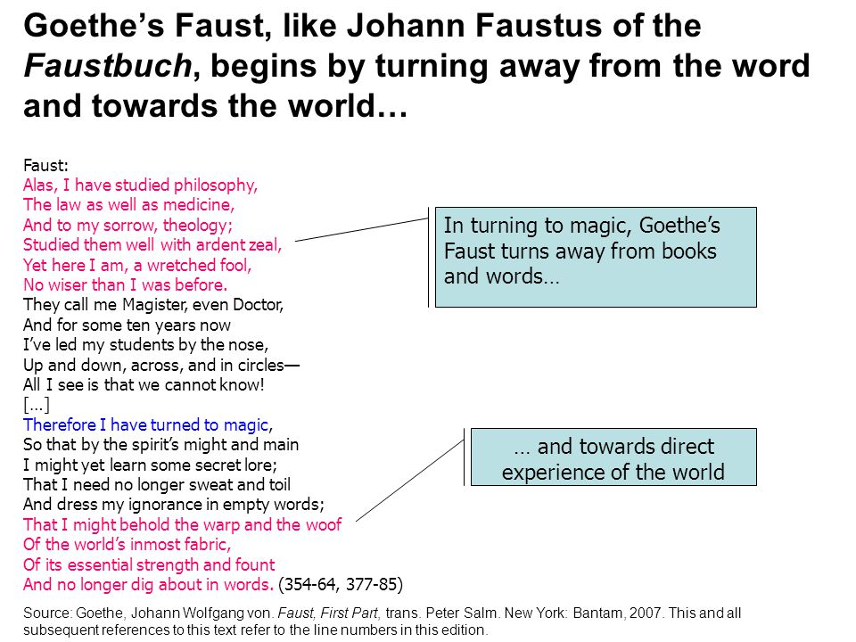 Goethe's Faust, like Johann Faustus of the Faustbuch, begins by turning away from the word and towards the world… Faust: Alas, I have studied philosophy, The law as well as medicine, And to my sorrow, theology; Studied them well with ardent zeal, Yet here I am, a wretched fool, No wiser than I was before.