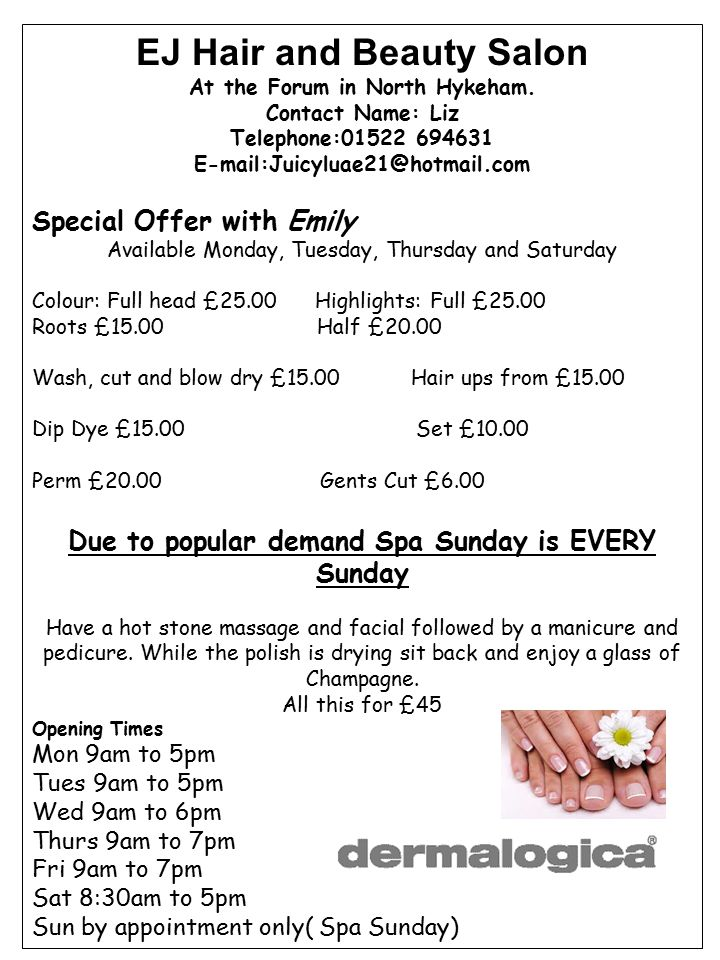 EJ Hair and Beauty Salon At the Forum in North Hykeham.