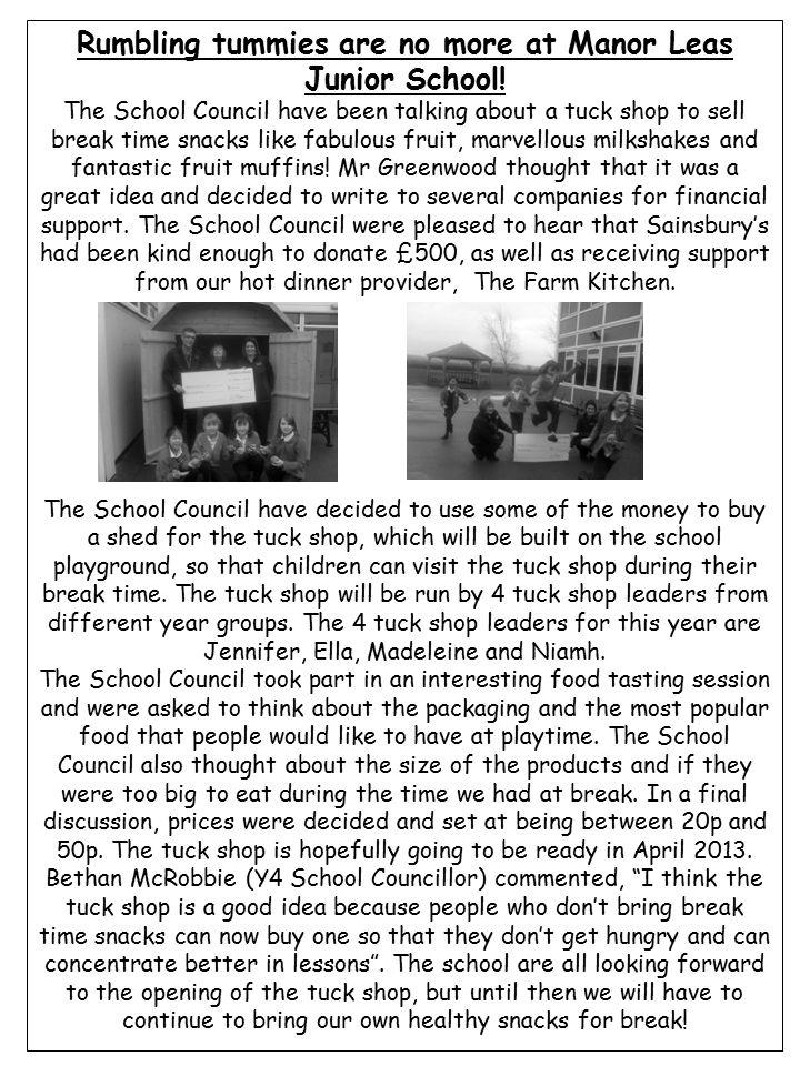 Rumbling tummies are no more at Manor Leas Junior School.