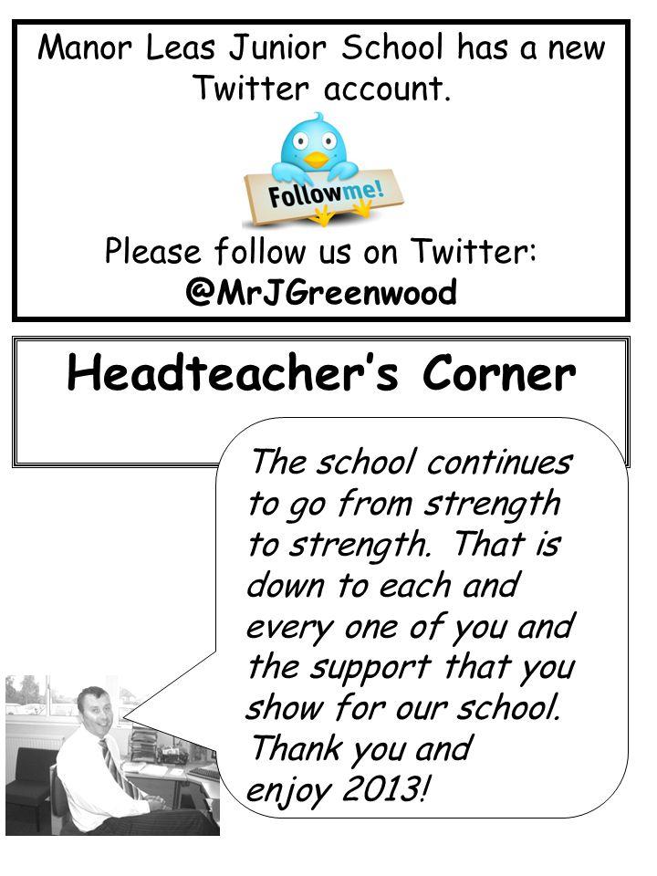 Manor Leas Junior School has a new Twitter account.