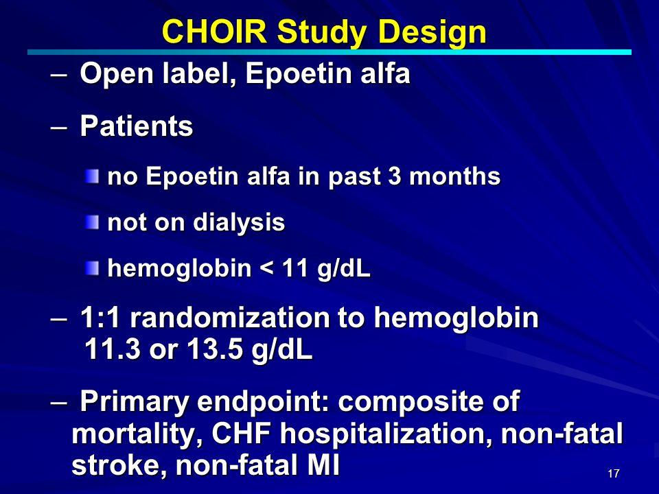 17 CHOIR Study Design – Open label, Epoetin alfa – Patients no Epoetin alfa in past 3 months no Epoetin alfa in past 3 months not on dialysis not on d