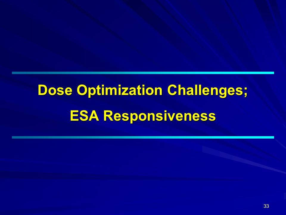33 Dose Optimization Challenges; ESA Responsiveness