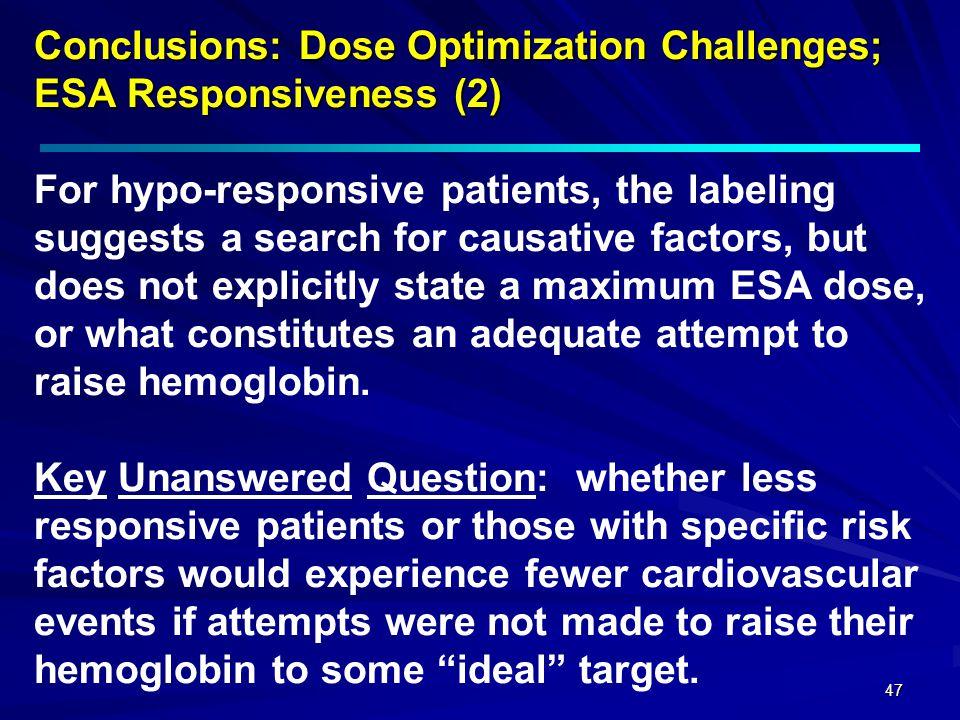 47 Conclusions: Dose Optimization Challenges; ESA Responsiveness (2) Conclusions: Dose Optimization Challenges; ESA Responsiveness (2) For hypo-respon