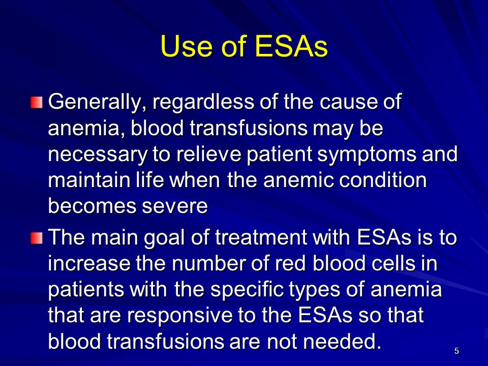 6 Overview of ESA Efficacy and Safety: Treatment with an ESA significantly reduced the RR of blood transfusion by 0.64; 95% CI 0.60 to 0.68, n=6,510.