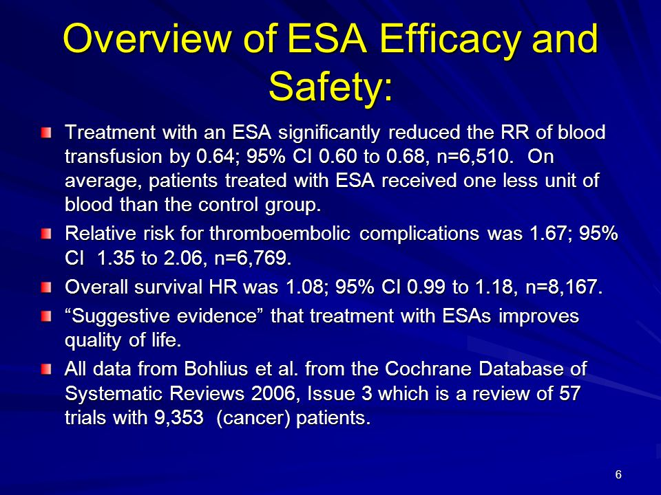 47 Conclusions: Dose Optimization Challenges; ESA Responsiveness (2) Conclusions: Dose Optimization Challenges; ESA Responsiveness (2) For hypo-responsive patients, the labeling suggests a search for causative factors, but does not explicitly state a maximum ESA dose, or what constitutes an adequate attempt to raise hemoglobin.