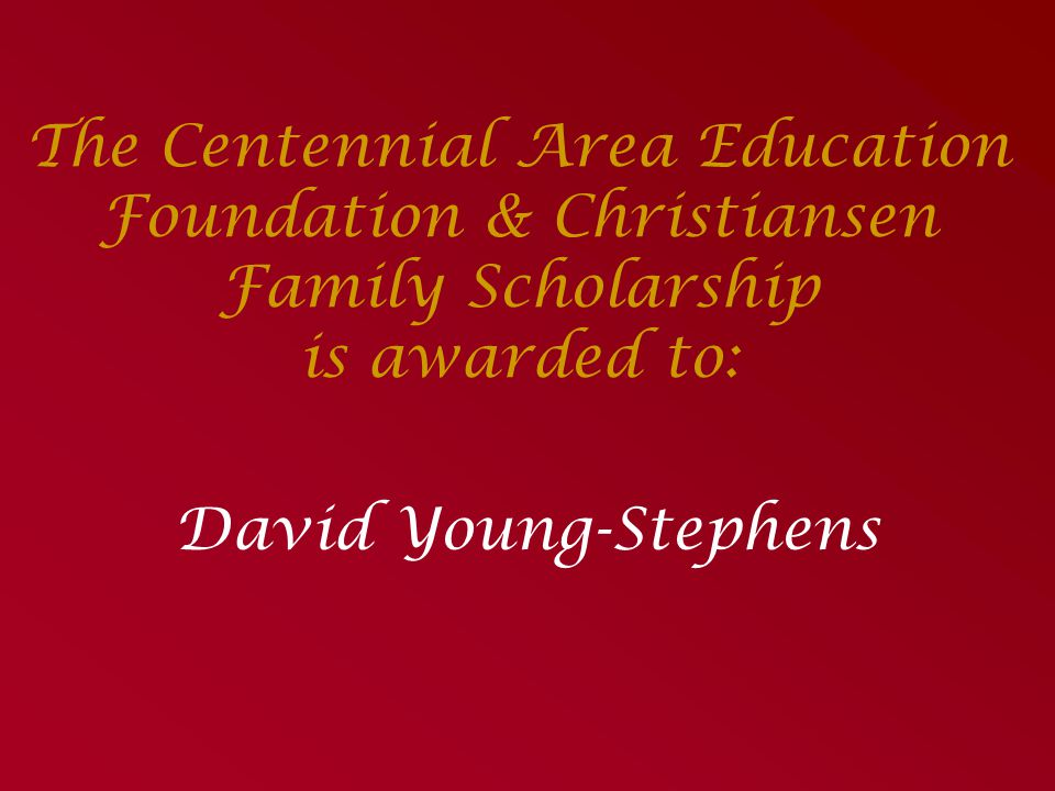 The Jenny Chen Alumni Scholarship In Thanks to her Parents Presented by: Pat Christiansen ~in absentia~