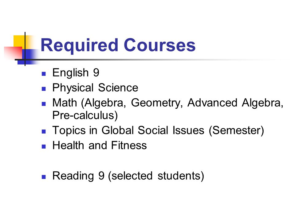 Required Courses English 9 Physical Science Math (Algebra, Geometry, Advanced Algebra, Pre-calculus) Topics in Global Social Issues (Semester) Health and Fitness Reading 9 (selected students)