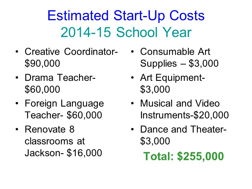 Estimated Start-Up Costs 2014-15 School Year Creative Coordinator- $90,000 Drama Teacher- $60,000 Foreign Language Teacher- $60,000 Renovate 8 classrooms at Jackson- $16,000 Consumable Art Supplies – $3,000 Art Equipment- $3,000 Musical and Video Instruments-$20,000 Dance and Theater- $3,000 Total: $255,000