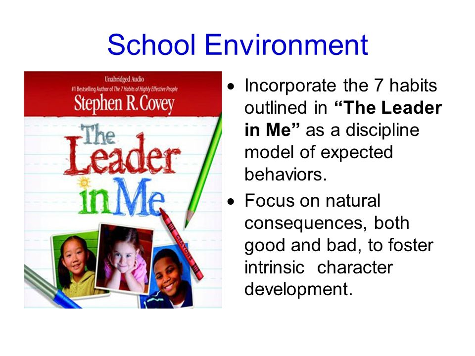 School Environment  Incorporate the 7 habits outlined in The Leader in Me as a discipline model of expected behaviors.