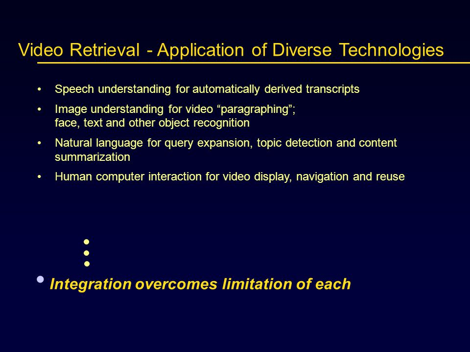 Video Retrieval - Application of Diverse Technologies Speech understanding for automatically derived transcripts Image understanding for video paragraphing ; face, text and other object recognition Natural language for query expansion, topic detection and content summarization Human computer interaction for video display, navigation and reuse Integration overcomes limitation of each