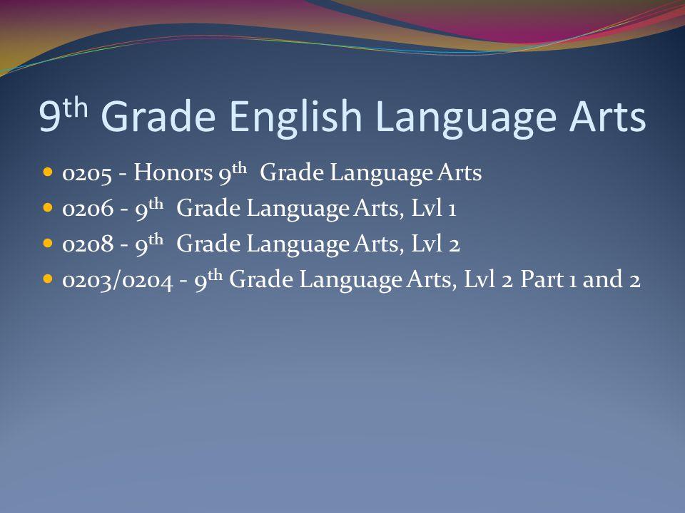 9 th Grade English Language Arts 0205 - Honors 9 th Grade Language Arts 0206 - 9 th Grade Language Arts, Lvl 1 0208 - 9 th Grade Language Arts, Lvl 2 0203/0204 - 9 th Grade Language Arts, Lvl 2 Part 1 and 2