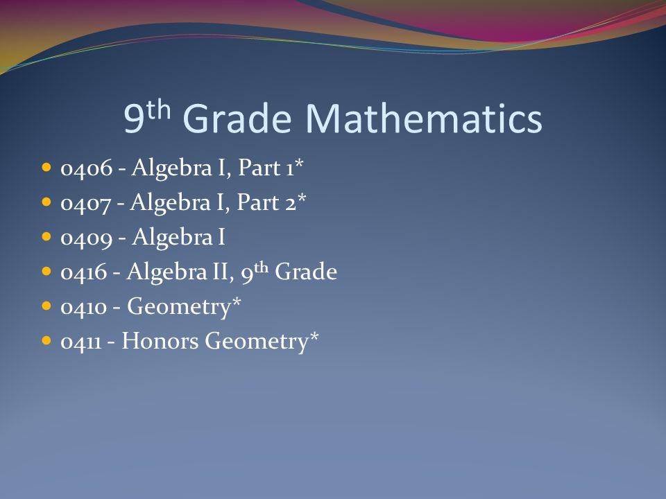 9 th Grade Mathematics 0406 - Algebra I, Part 1* 0407 - Algebra I, Part 2* 0409 - Algebra I 0416 - Algebra II, 9 th Grade 0410 - Geometry* 0411 - Honors Geometry*