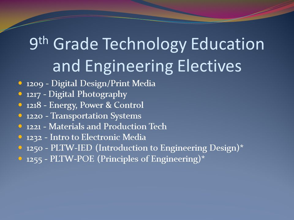 9 th Grade Technology Education and Engineering Electives 1209 - Digital Design/Print Media 1217 - Digital Photography 1218 - Energy, Power & Control