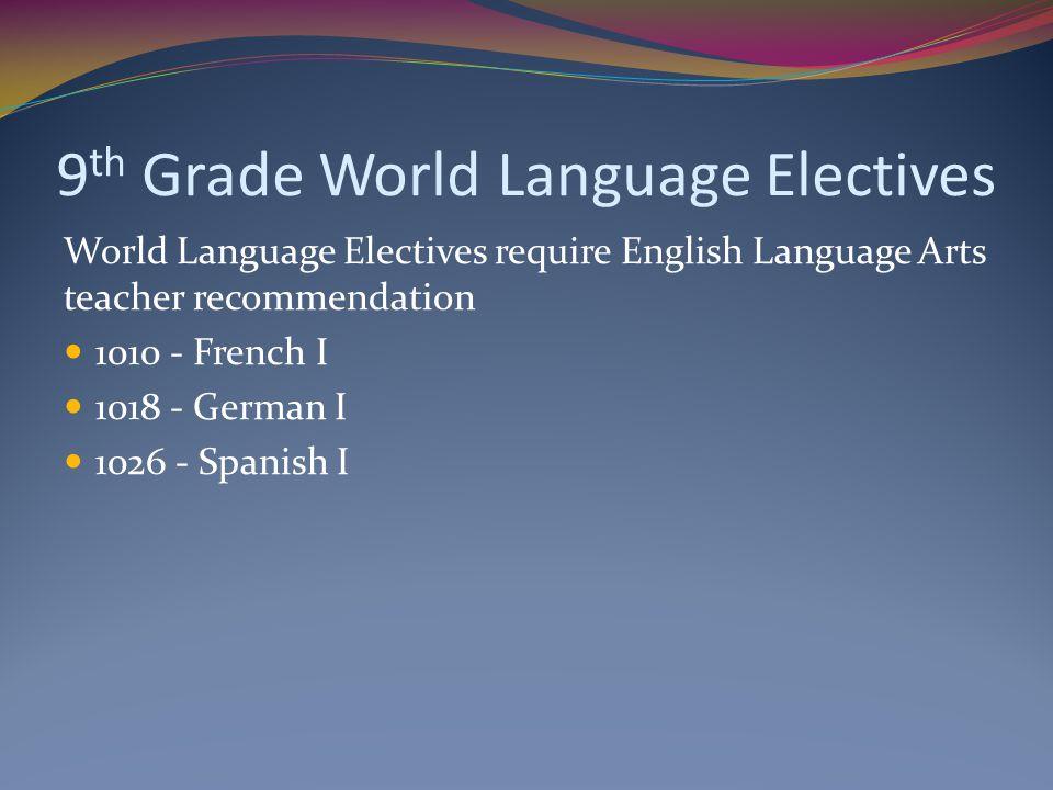 9 th Grade World Language Electives World Language Electives require English Language Arts teacher recommendation 1010 - French I 1018 - German I 1026 - Spanish I