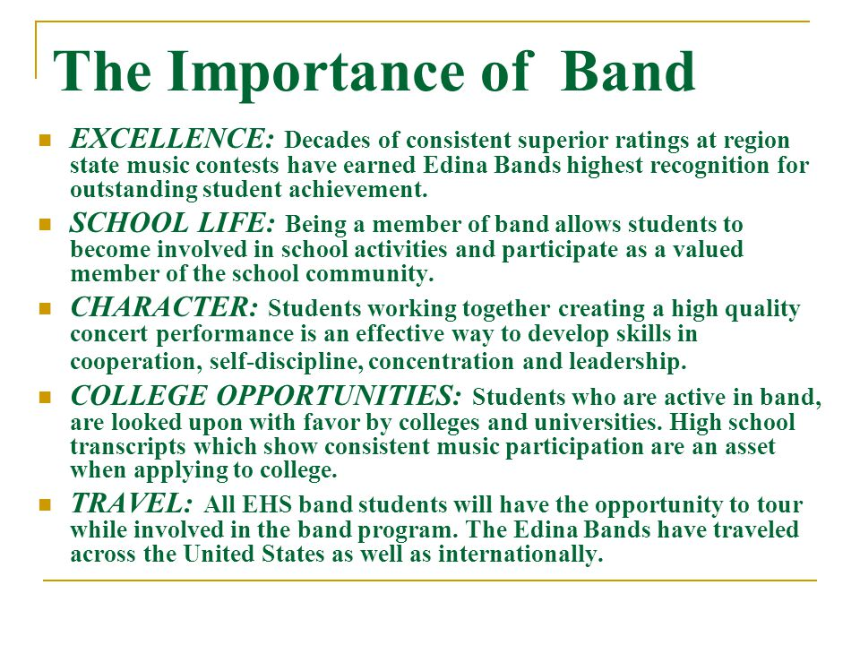 BAND STATS There are approximately 320 students in the EHS Band Program We have over 120 students involved in fall sports and activities and frequently band students serve as captains on their athletic teams EHS Band students consistently earn coveted spots in National and State Honor bands and the EHS Band program is one of the finest programs in the State having earned 62 consecutive Superior ratings at MSHSL Contest Band students regularly populate leadership teams (Student Council, 212, Youth Serving Youth, etc.) and student courts such as Homecoming Court (this years King and Queen are both bandies) Bandies do well academically.