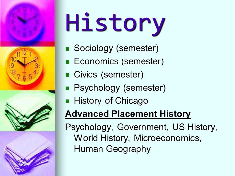 History Sociology (semester) Sociology (semester) Economics (semester) Economics (semester) Civics (semester) Civics (semester) Psychology (semester)