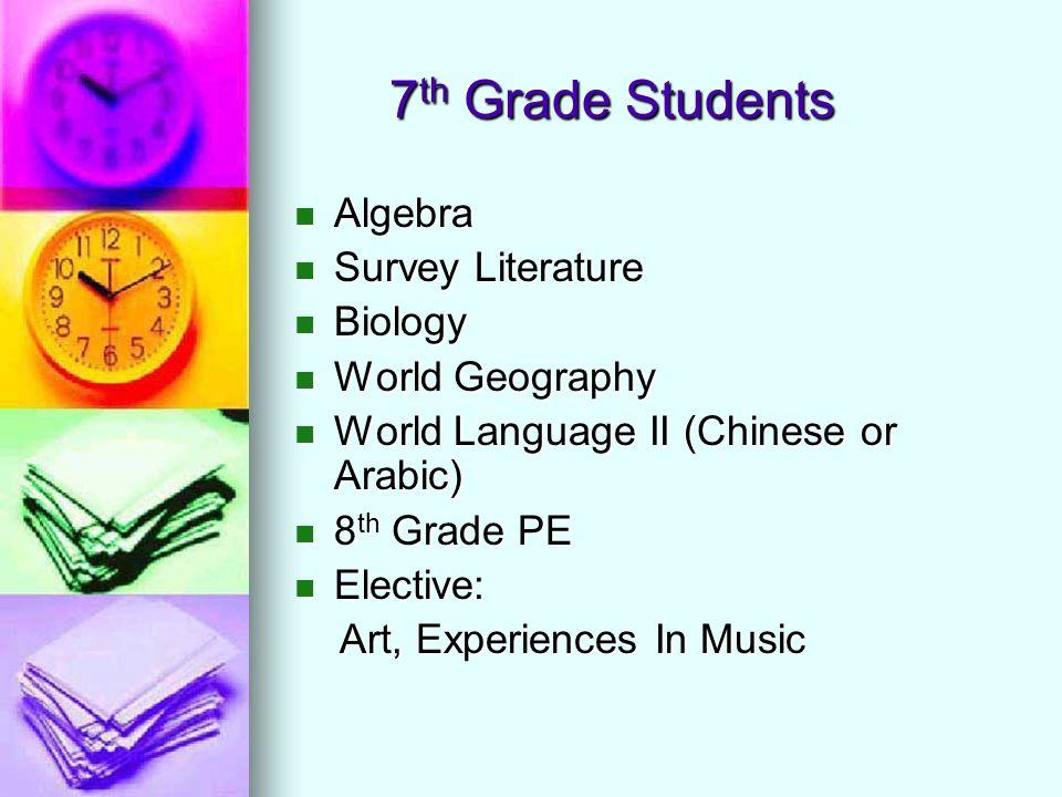 7 th Grade Students Algebra Algebra Survey Literature Survey Literature Biology Biology World Geography World Geography World Language II (Chinese or