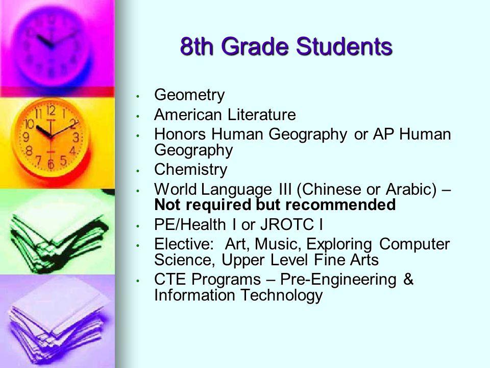 8th Grade Students Geometry Geometry American Literature American Literature Honors Human Geography or AP Human Geography Honors Human Geography or AP