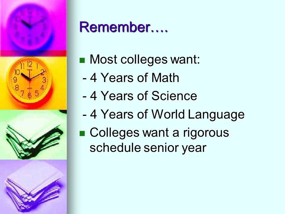 Remember…. Most colleges want: Most colleges want: - 4 Years of Math - 4 Years of Math - 4 Years of Science - 4 Years of Science - 4 Years of World La
