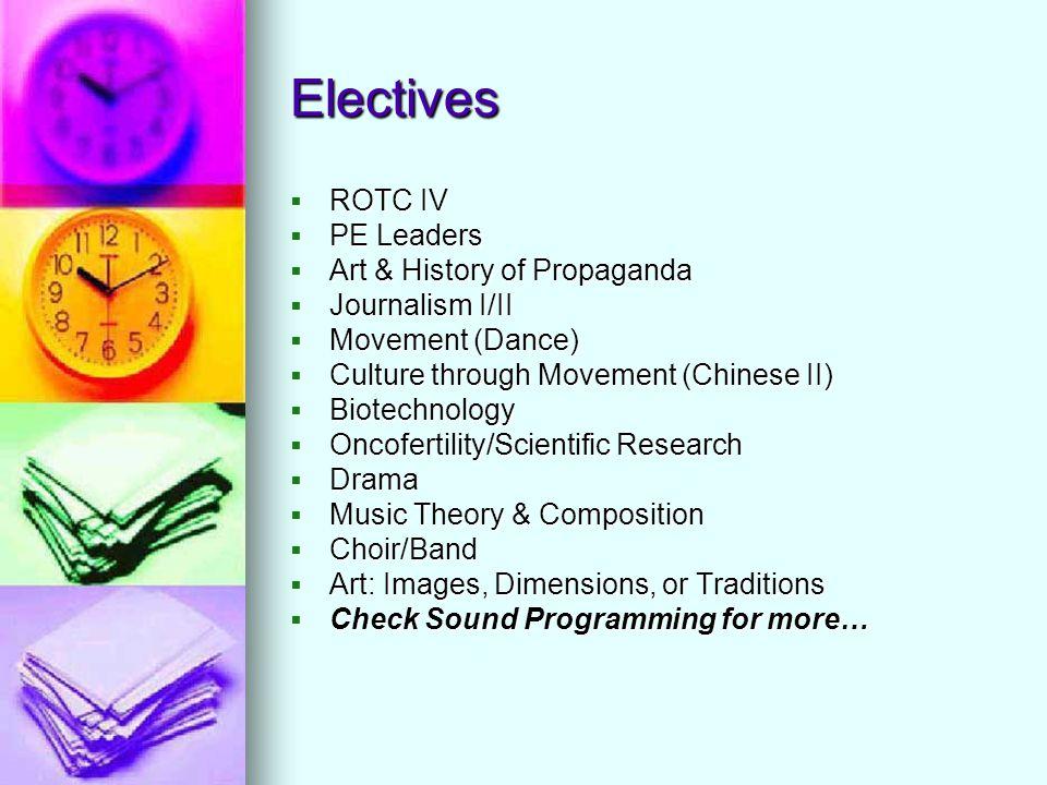 Electives  ROTC IV  PE Leaders  Art & History of Propaganda  Journalism I/II  Movement (Dance)  Culture through Movement (Chinese II)  Biotechn